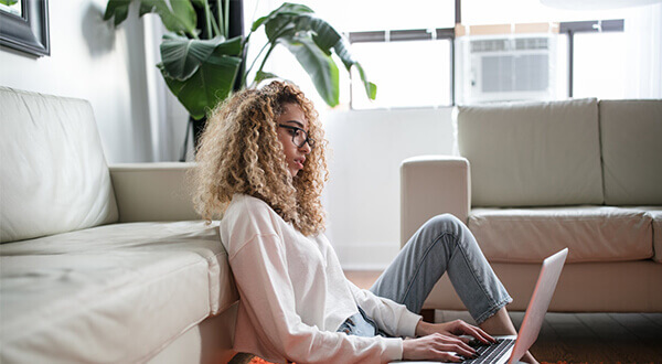 curly blonde laptop